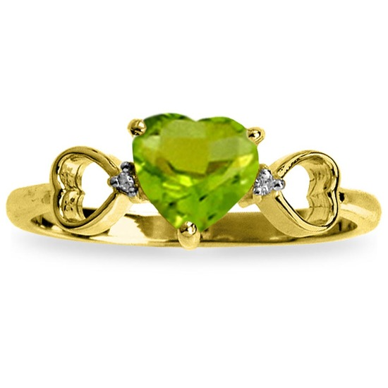 0.96 Carat 14K Solid Gold Not Sugarcoated Peridot Diamond Ring