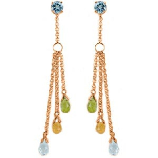 14K Solid Rose Gold Chandelier Earrings with Blue Topaz Citrines & Peridots