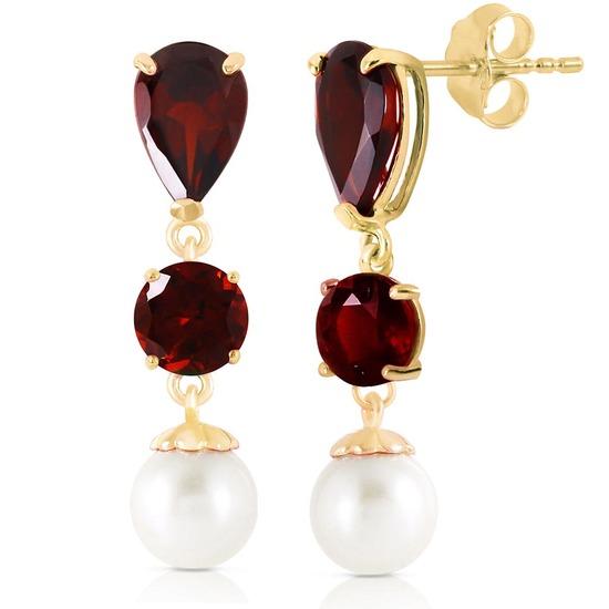 10.5 Carat 14K Solid Gold Chandelier Earrings Garnet pearl