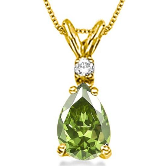 0.7 CARAT PERIDOT & 0.01 CTW DIAMOND 14KT SOLID YELLOW GOLD PENDANT