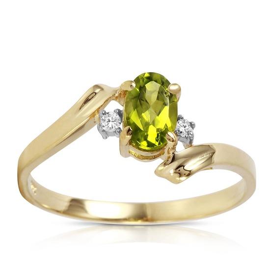 0.46 Carat 14K Solid Gold Rings Natural Diamond Peridot