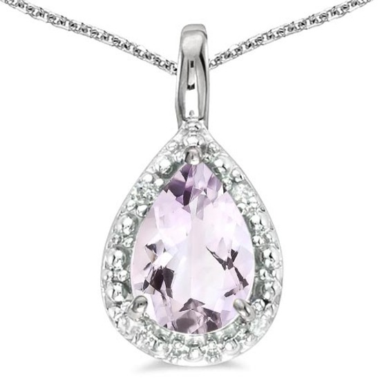 0.37 CARAT PINK AMETHYST & CZ 14KT SOLID WHITE GOLD PENDANT