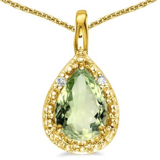 0.4 CARAT GREEN AMETHYST & 0.01 CTW DIAMOND 14KT SOLID YELLOW GOLD PENDANT