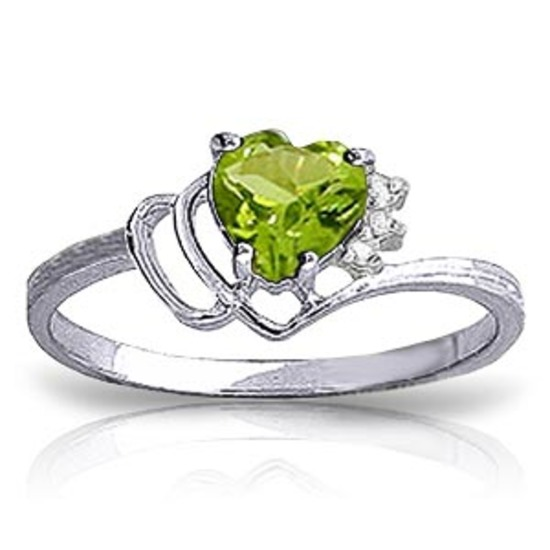 0.97 Carat 14K Solid White Gold Ring Natural Diamond Peridot
