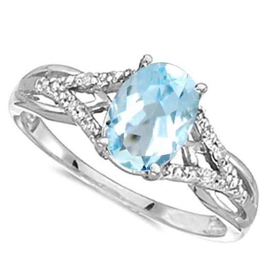 0.95 CARAT SKY BLUE TOPAZ & 0.04 CTW DIAMOND 14KT SOLID WHITE GOLD RING
