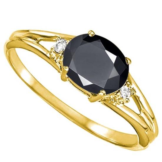 0.58 CARAT MIDNIGHT BLACK SAPPHIRE & 0.02 CTW DIAMOND 10KT SOLID YELLOW GOLD RING