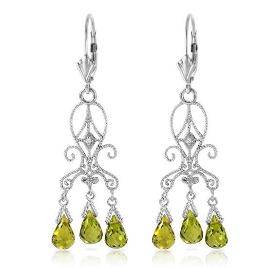 4.51 Carat 14K Solid White Gold Chandelier Diamond Earrings Peridot