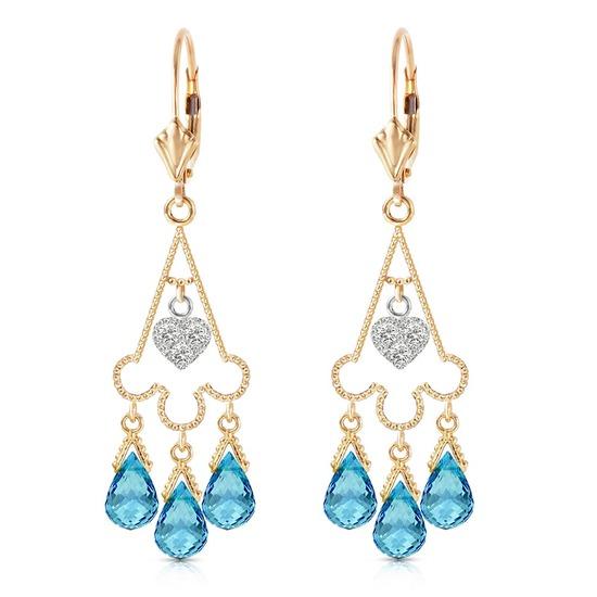 4.83 Carat 14K Solid Gold Chandelier Diamond Earrings Blue Topaz