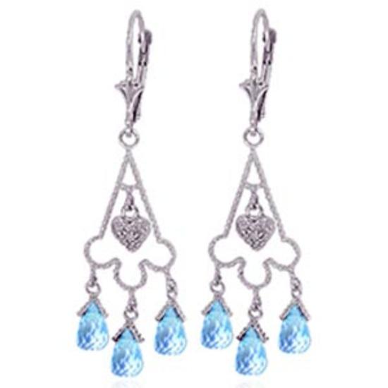 4.83 Carat 14K Solid White Gold Chandelier Diamond Earrings Blue Topaz