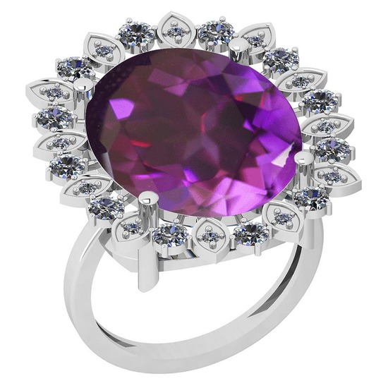 14.29 Ctw VS/SI1 Amethyst And Diamond 14k White Gold Victorian Style Ring