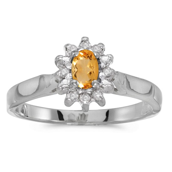 10k White Gold Oval Citrine And Diamond Ring 0.23 CTW
