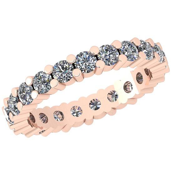 0.91 Ctw Diamond I2/I3 14K Rose Gold Eternity Band Ring