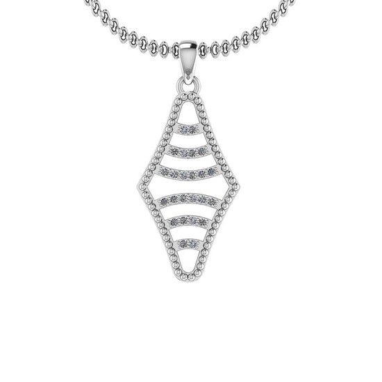 0.12 Ctw Diamond I2/I3 14K White Gold Vintage Style Pendant