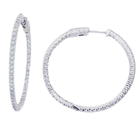 14K White Gold 2 Ct Diamond 35mm Round Secure Lock Hoop Earrings