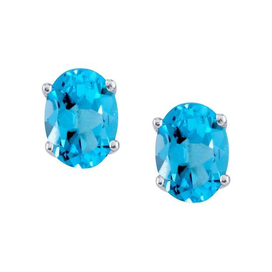 14k White Gold Large 6x8 mm Oval Blue Topaz Studs 3 CTW