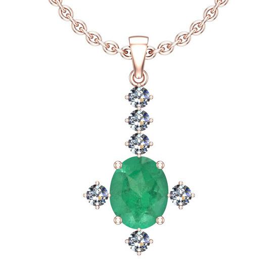 2.91 Ctw VS/SI1 Emerald And Diamond 14K Rose Gold