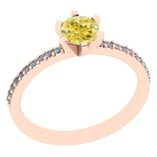 1.04 Ct GIA Certified Natural Fancy Yellow Diamond And White Diamond 14K Rose Gold Engagement Rings