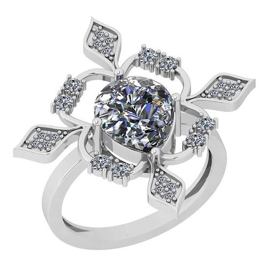 1.86 Ctw Diamond I2/I3 14K White Gold Vintage Style Ring
