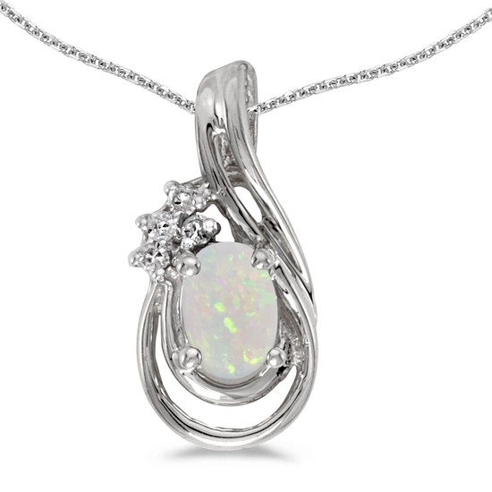 10k White Gold Oval Opal And Diamond Teardrop Pendant 0.23 CTW