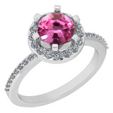 1.52 Ctw VS/SI1 Pink Tourmaline And Diamond 14K White Gold Engagement Halo Ring