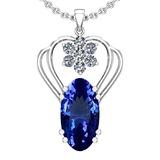 7.40 Ctw VS/SI1 Tanzanite And Diamond 14k White Gold Victorian Style Necklace
