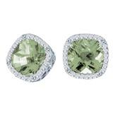 14k White Gold Cushion Cut Green Amethyst And Diamond Earrings