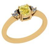 0.81 Ct GIA Certified Natural Fancy Yellow Diamond And White Diamond 18K Yellow Gold Anniversary Rin