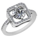 1.47 Ctw Diamond I2/I3 14K White Gold Vintage Style Ring