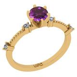 0.64 Ctw I2/I3 Amethyst And Diamond 10K Yellow Gold Promises Ring
