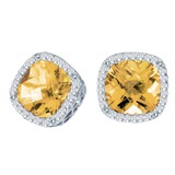 14k White Gold Cushion Cut Citrine And Diamond Earrings