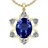 5.15 Ctw VS/SI1 Tanzanite And Diamond 14k Yellow Gold Victorian Style Necklace