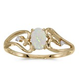 10k Yellow Gold Oval Opal And Diamond Ring 0.2 CTW