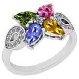 1.24 Ctw SI2/I1 Multi Sapphire ,Tanzanite And Diamond 14K White Gold Stylish Bridal Wedding Ring