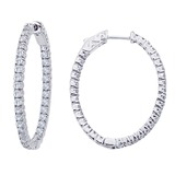 14K White Gold 1.98 Ct Diamond Oval Secure Lock Hoop Earrings