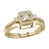 14K Yellow Gold Princess Diamond Band Ring Set 0.44 CTW