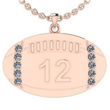0.35 Ctw SI2/I1 Diamond 14K Rose Gold Football Rugby Necklace