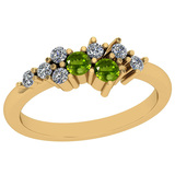 0.44 Ctw VS/SI1 Peridot And Diamond 10K Yellow Gold Vintage Ring
