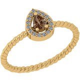 0.19 Ct Natural Brown Diamond I2/I3And White Diamond I2/I3 14k Rose Gold Anniversary Ring