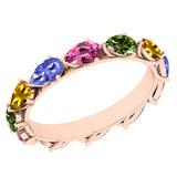 3.00 Ctw I2/I3 Multi Sapphire ,Tanzanite Style Prong Set 10K Rose Gold Eternity Band Ring