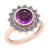 2.87 Ctw I2/I3 Amethyst And Diamond 10K Rose Gold Vintage Style Ring