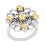 1.55 Ctw VS/SI1 Citrine And Diamond 10K White Gold Vintage Ring