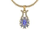 1.50 Ctw I2/I3 Tanzanite And Diamond 14K Yellow Gold Necklace