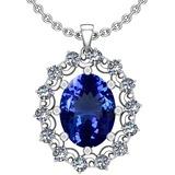 6.13 Ctw VS/SI1 Tanzanite And Diamond 14k White Gold Victorian Style Necklace