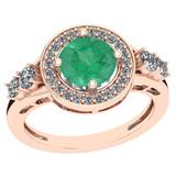 1.75 Ctw Emerald And Diamond I2/I3 14K Rose Gold Vintage Style Ring
