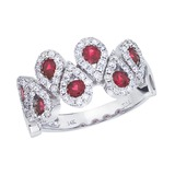 14k White Gold Ruby and .48 CTW Diamond Fashion Ring 1.13 CTW