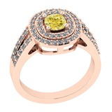 1.11 Ct GIA Certified Natural Fancy Yellow Diamond And White Diamond 14K Rose Gold Engagement Rings