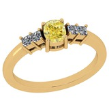 0.77 Ct GIA Certified Natural Fancy Yellow Diamond And White Diamond 18K Yellow Gold Engagement Ring