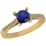 0.77 Ctw I2/I3 Blue Sapphire And Diamond 14K Yellow Gold Vintage Style Ring