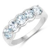 1.10 CTW Genuine Aquamarine .925 Sterling Silver Ring