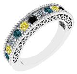 0.75 Ctw I2/I3 Multi Treated Fancy yellow,Blue,Black,White diamond 14K White Gold Filigree Style Ban
